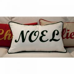 Sunbrella Monogrammed Holiday Pillow - 20x12 - Christmas - NOEL - Dark Green on White with Dark Green Welt and Red Back