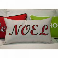 Sunbrella Monogrammed Holiday Pillow - 20x12 - Christmas - NOEL - Red / Dark Green on Grey
