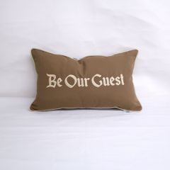 Sunbrella Monogrammed  Pillow - 20x12 - Be Our Guest - Beige on Brown with Beige Welt
