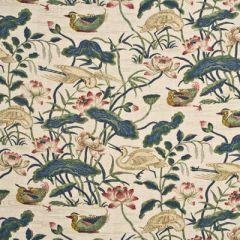 GP and J Baker Heron and Lotus Flower Indigo / Pink BP10307-2 Drapery Fabric