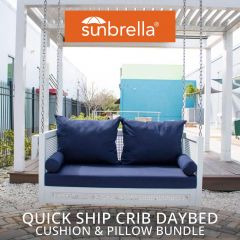 Crib Size Sunbrella Porch Swing Bed Cushion Cover and Pillow Set Bundle (52X28)