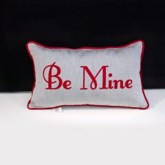 Sunbrella Monogrammed Holiday Pillow - 20x12 - Valentines - Be Mine - Red on Grey with Red Welt