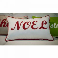Sunbrella Monogrammed Holiday Pillow - 20x12 - Christmas - NOEL - Red on White with Dark Green Back