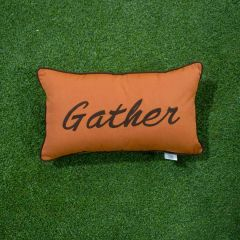 Sunbrella Monogrammed Holiday Pillow - 20x12 - Thanksgiving - Gather - Brown on Orange with Brown Welt