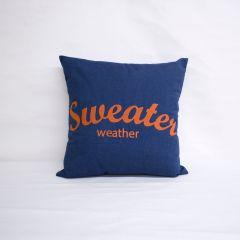 Sunbrella Monogrammed Pillow - 20x20 - Sweater Weather - Orange on Blue