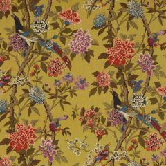 GP and J Baker Hydrangea Bird Mustard / Mauve R1355-1 East to West Collection Multipurpose Fabric