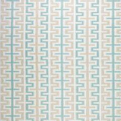 Sunbrella Thibaut Zipper Aqua and Flax W80377 Calypso Collection Upholstery Fabric