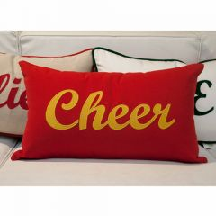 Sunbrella Monogrammed Holiday Pillow - 20x12 - Christmas - Cheer - Gold on Red with Striped Back