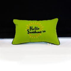 Sunbrella Monogrammed Pillow - 20x12 - Hello Sunshine - Orange / Gold / Black on Lime Green with Black Welt