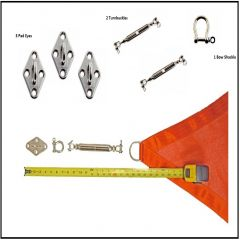 Shade Sail - Stainless Steel Hardware Kit (3 corner sail - Triangle)