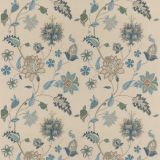 GP and J Baker Bakers Indienne Embroidery Indigo / Stone BF10784-2 Keswick Embroideries Collection Drapery Fabric