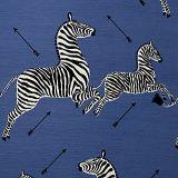 Scalamandre Zebras - Outdoor Denim 5 Zebras Collection Upholstery Fabric